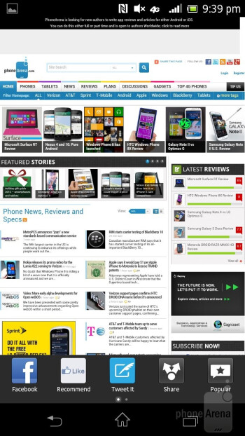 Web surfing with the Sony Xperia TL - Sony Xperia TL Review