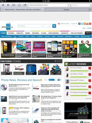 Browsing the web with Safari - Samsung Galaxy Note 8.0 vs Apple iPad mini