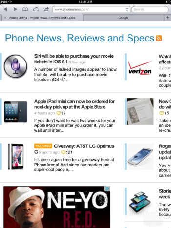 Browsing the web with Safari - Apple iPad mini Review