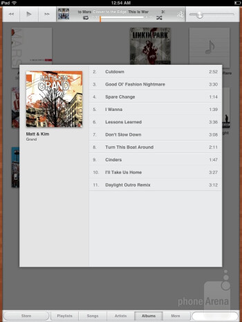 The music player interface on the Apple iPad mini - Samsung Galaxy Note 8.0 vs Apple iPad mini