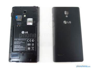 The 2150mAh battery is beneath the soft touch cover - LG Optimus L9 Review