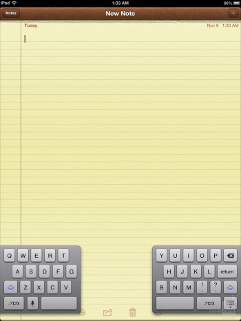 The keyboard of the Apple iPad 4 - Google Nexus 10 vs Apple iPad 4