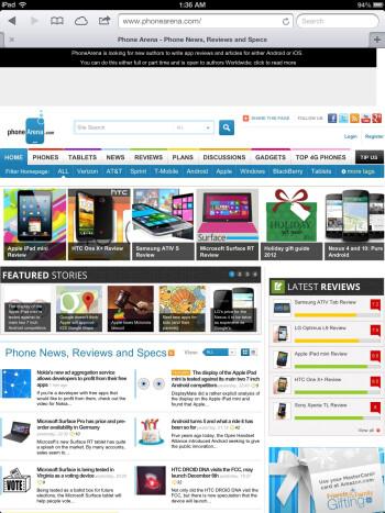 Safari browser on the Apple iPad 4 - Google Nexus 10 vs Apple iPad 4