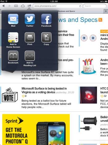 Safari on the Apple iPad 4 - Microsoft Surface Pro vs Apple iPad 4