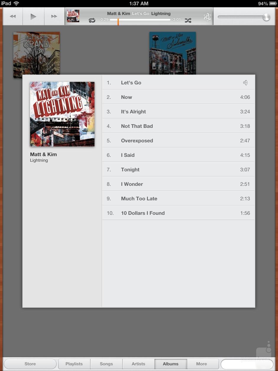 The Apple iPad 4's music player - Apple iPad 4 vs Microsoft Surface RT