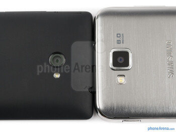 Rear cameras - The Samsung ATIV S (right) and the HTC Windows Phone 8X (left) - Samsung ATIV S vs HTC Windows Phone 8X