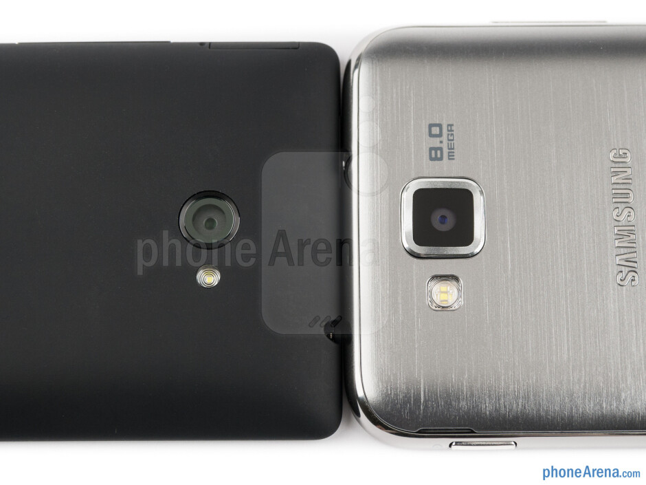 Rear cameras - The Samsung ATIV S (right) and the HTC Windows Phone 8X (left) - Samsung ATIV S vs HTC Windows Phone 8X