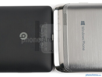 Speaker grills - The Samsung ATIV S (right) and the HTC Windows Phone 8X (left) - Samsung ATIV S vs HTC Windows Phone 8X