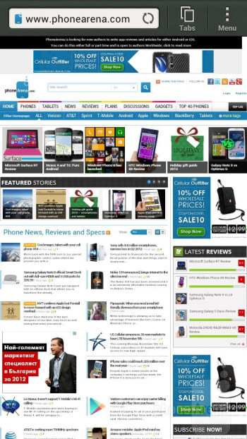Browsing the web on the HTC J - HTC J Review