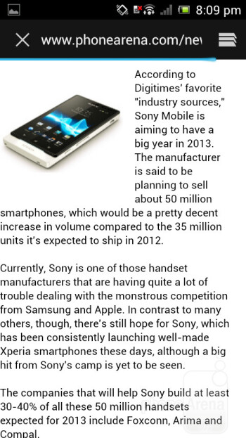 Surfing the web - Sony Xperia J Review