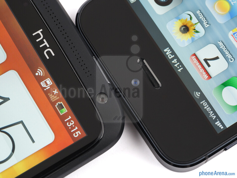 Front cameras and earpieces - HTC One X+ vs iPhone 5