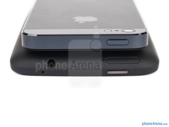 Top - The iPhone 5 is on top and HTC One X+ is on the bottom - HTC One X+ vs iPhone 5