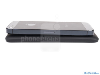 Right - The iPhone 5 is on top and HTC One X+ is on the bottom - HTC One X+ vs iPhone 5