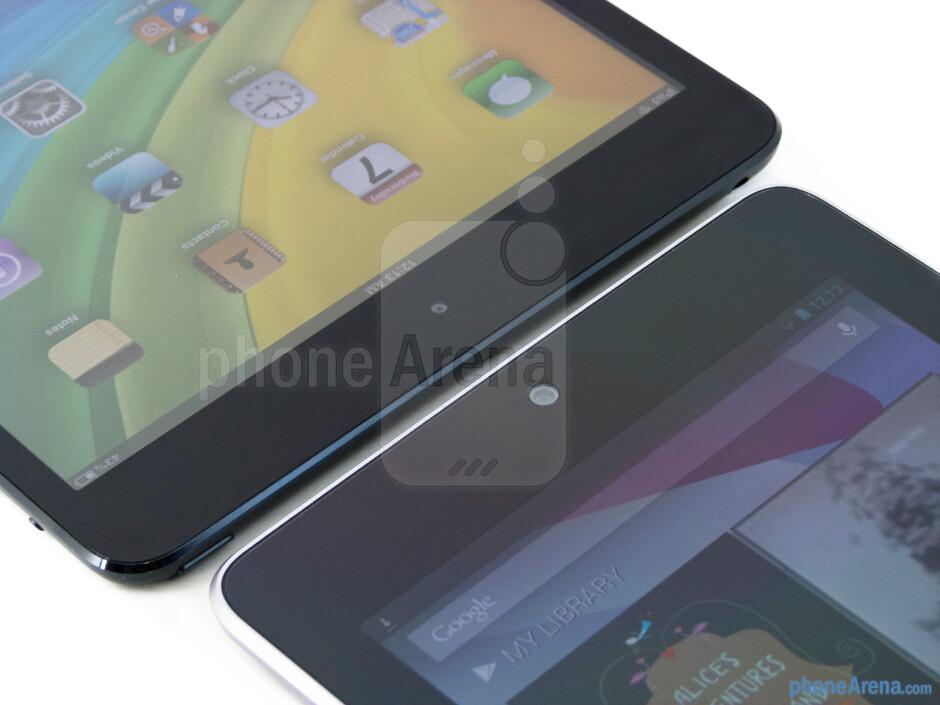 Front cameras - The Apple iPad mini (left) and the Google Nexus 7 (right) - Apple iPad mini vs Google Nexus 7