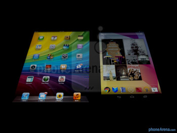 Viewing  angles - Color productionThe Apple iPad mini (left) and the Google Nexus 7 (right) - Apple iPad mini vs Google Nexus 7