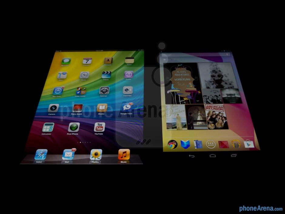 Viewing angles - Color productionThe Apple iPad mini (left) and the Google Nexus 7 (right) - Apple iPad mini vs Google Nexus 7