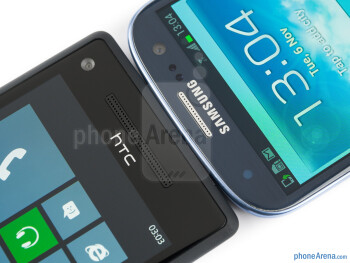 The HTC Windows Phone 8X (left) and the Samsung Galaxy S III (right) - HTC Windows Phone 8X vs Samsung Galaxy S III