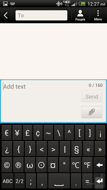 The onscreen keyboard of the HTC DROID DNA - HTC DROID DNA vs Samsung Galaxy S III