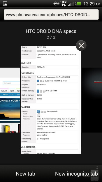Browsing the web on the HTC DROID DNA - HTC DROID DNA vs Samsung Galaxy Note II