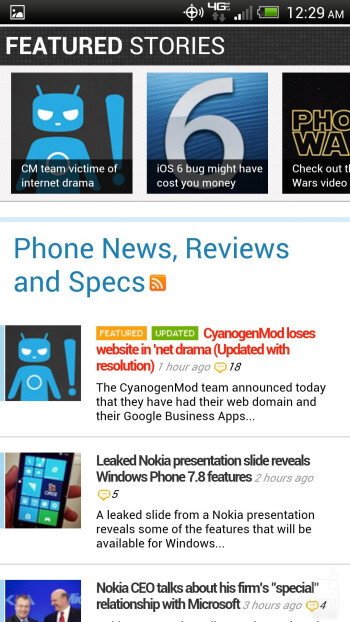 Browsing the web on the HTC DROID DNA's 1080p display - HTC DROID DNA Review