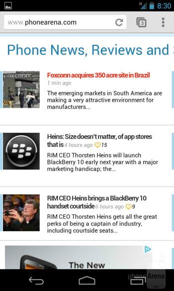 Web browsing with the Google Nexus 4 - Google Nexus 4 vs Samsung Galaxy S III
