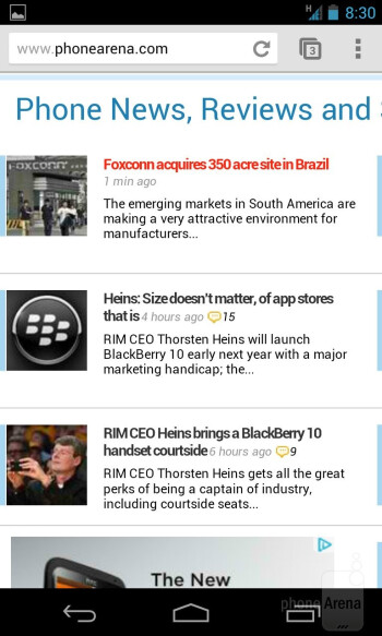 Web browsing with the Google Nexus 4 - Google Nexus 4 vs Samsung Galaxy S III