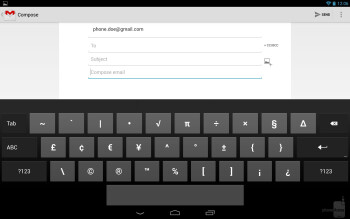 The stock Android 4.2 keyboard of the Google Nexus 10 - Google Nexus 10 vs Microsoft Surface RT