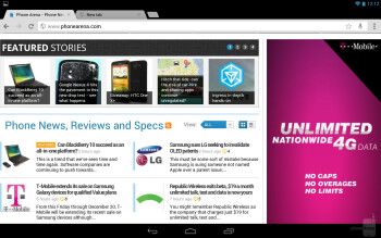 The Chrome browser of the Google Nexus 10 - Google Nexus 10 vs Apple iPad 4