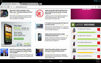 The browser of the Google Nexus 10 - Google Nexus 10 vs Microsoft Surface RT