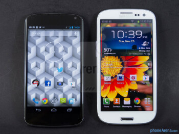 The Google Nexus 4 (left) and the Samsung Galaxy S III (right) - Google Nexus 4 vs Samsung Galaxy S III