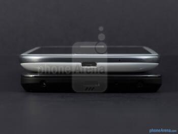Bottom edges - The sides of the Google Nexus 4 (bottom) and the Samsung Galaxy S III (top) - Google Nexus 4 vs Samsung Galaxy S III