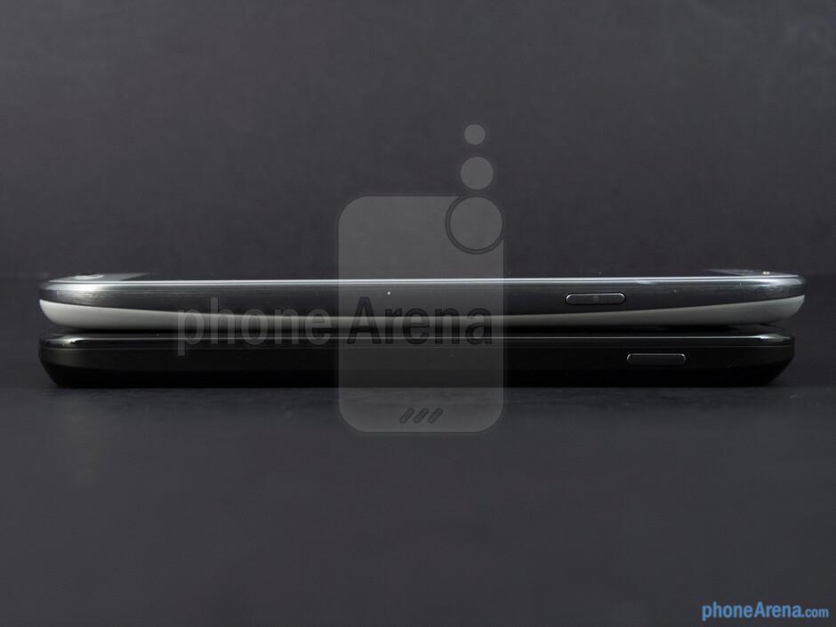 Right - The sides of the Google Nexus 4 (bottom) and the Samsung Galaxy S III (top) - Google Nexus 4 vs Samsung Galaxy S III