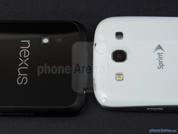 Rear cameras - The Google Nexus 4 (left) and the Samsung Galaxy S III (right) - Google Nexus 4 vs Samsung Galaxy S III