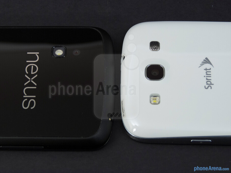 Rear cameras - The Google Nexus 4 (left) and the Samsung Galaxy S III (right) - Google Nexus 4 vs Samsung Galaxy S III