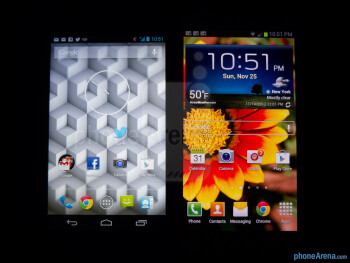 Viewing angles - Color productionThe Google Nexus 4 (left) and the Samsung Galaxy S III (right) - Google Nexus 4 vs Samsung Galaxy S III