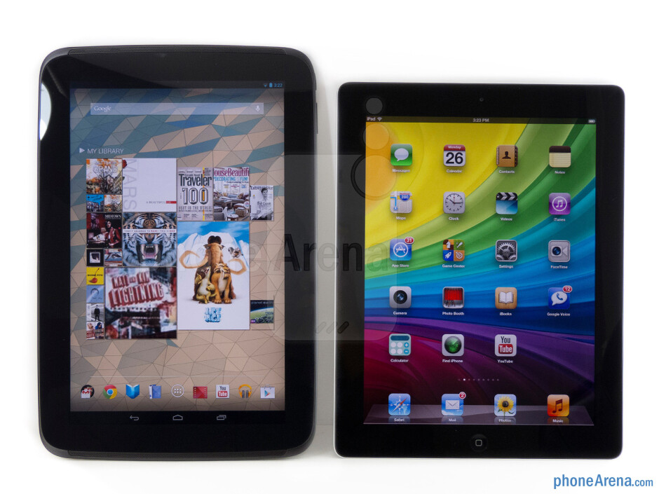 The Google Nexus 10 (left) and the Apple iPad 4 (right) - Google Nexus 10 vs Apple iPad 4