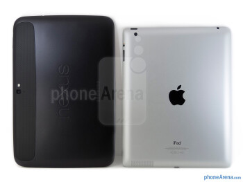 Backs - The Google Nexus 10 (left) and the Apple iPad 4 (right) - Google Nexus 10 vs Apple iPad 4