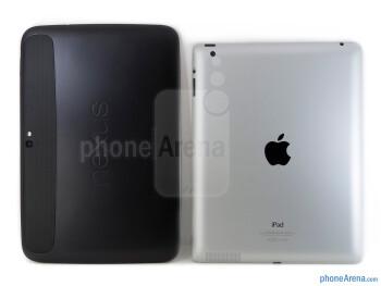 Backs - The Google Nexus 10 (left) and the Apple iPad 4 (right) - Google Nexus 10 vs Apple iPad 4