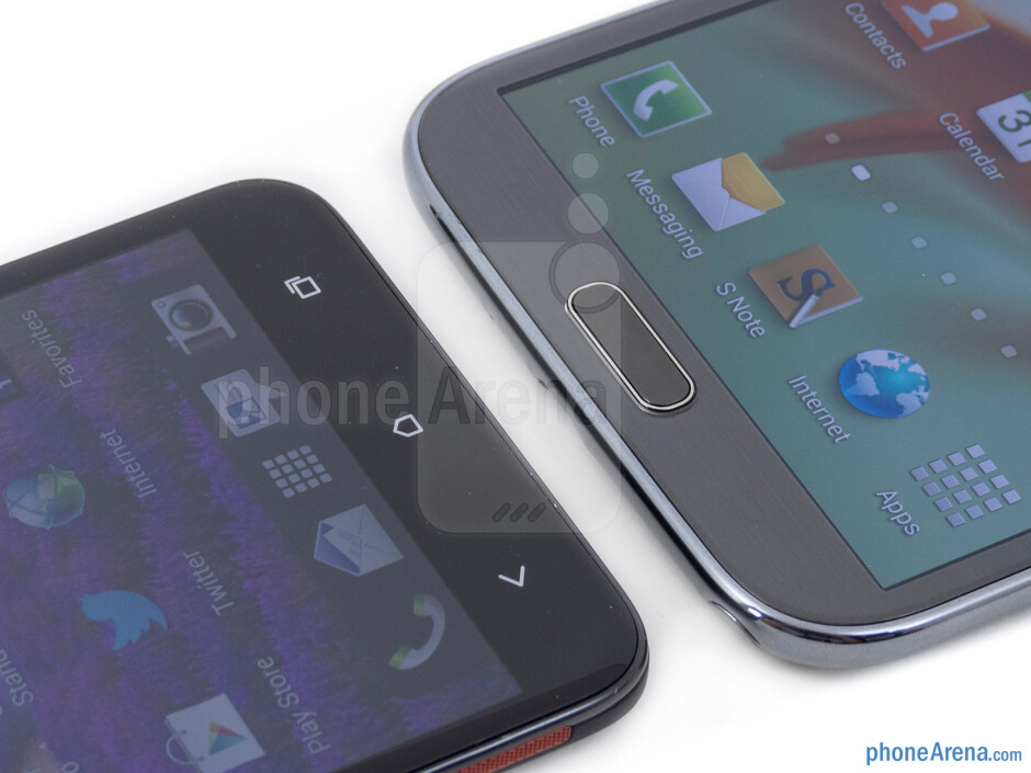 Android buttons - The HTC DROID DNA (left) and the Samsung Galaxy Note II (right) - HTC DROID DNA vs Samsung Galaxy Note II