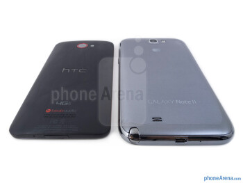 Backs - The HTC DROID DNA (left) and the Samsung Galaxy Note II (right) - HTC DROID DNA vs Samsung Galaxy Note II