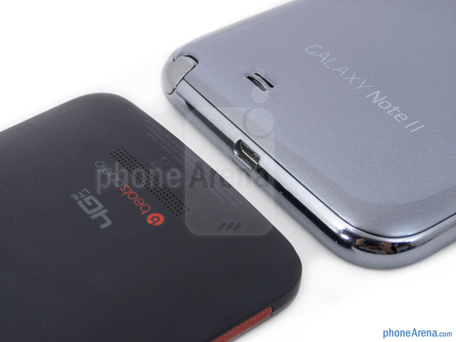 Speakers - The HTC DROID DNA (left) and the Samsung Galaxy Note II (right) - HTC DROID DNA vs Samsung Galaxy Note II