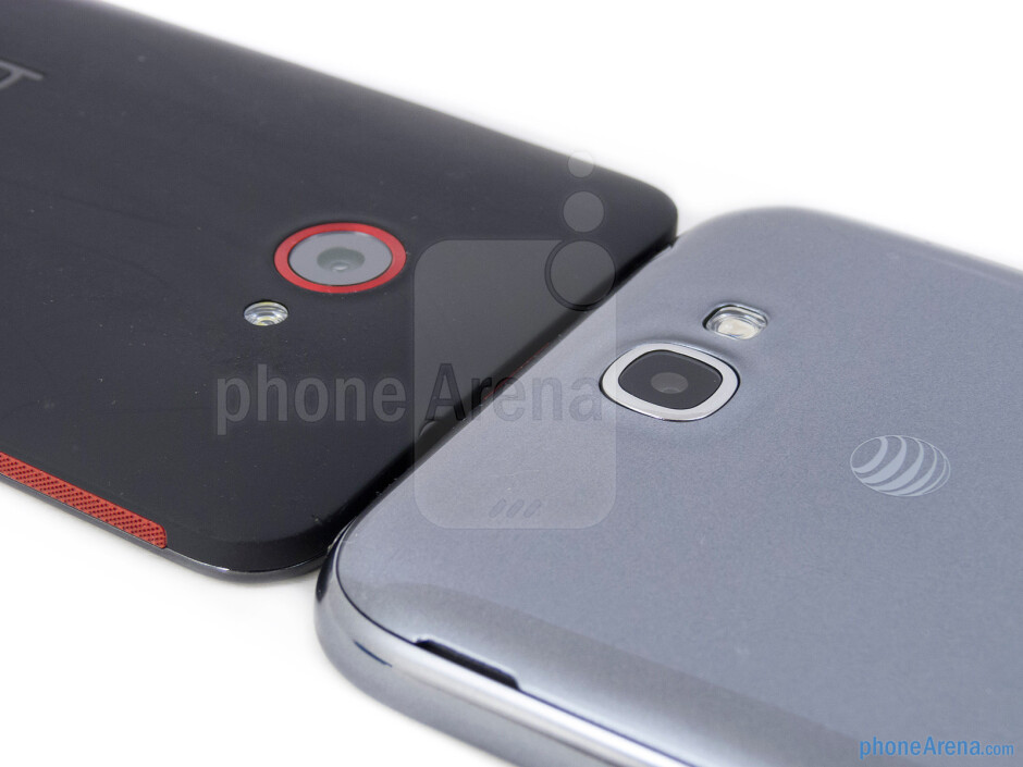 Rear cameras - The HTC DROID DNA (left) and the Samsung Galaxy Note II (right) - HTC DROID DNA vs Samsung Galaxy Note II
