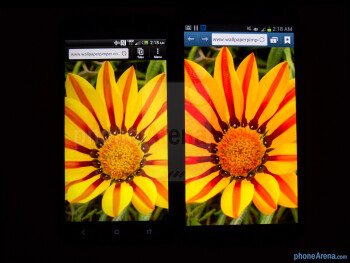 Color production of the HTC DROID DNA (left) and the Samsung Galaxy Note II (right) - HTC DROID DNA vs Samsung Galaxy Note II