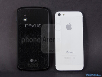 Backs - The Google Nexus 4 (left) and the Apple iPhone 5 (right) - Google Nexus 4 vs Apple iPhone 5