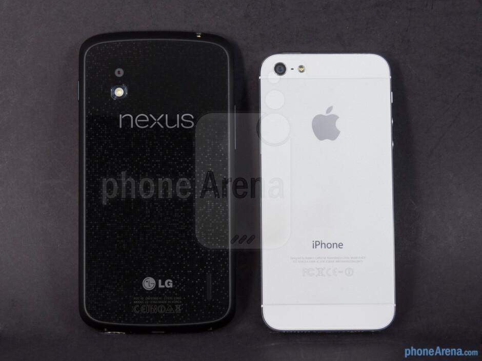 Backs - The Google Nexus 4 (left) and the Apple iPhone 5 (right) - Google Nexus 4 vs Apple iPhone 5