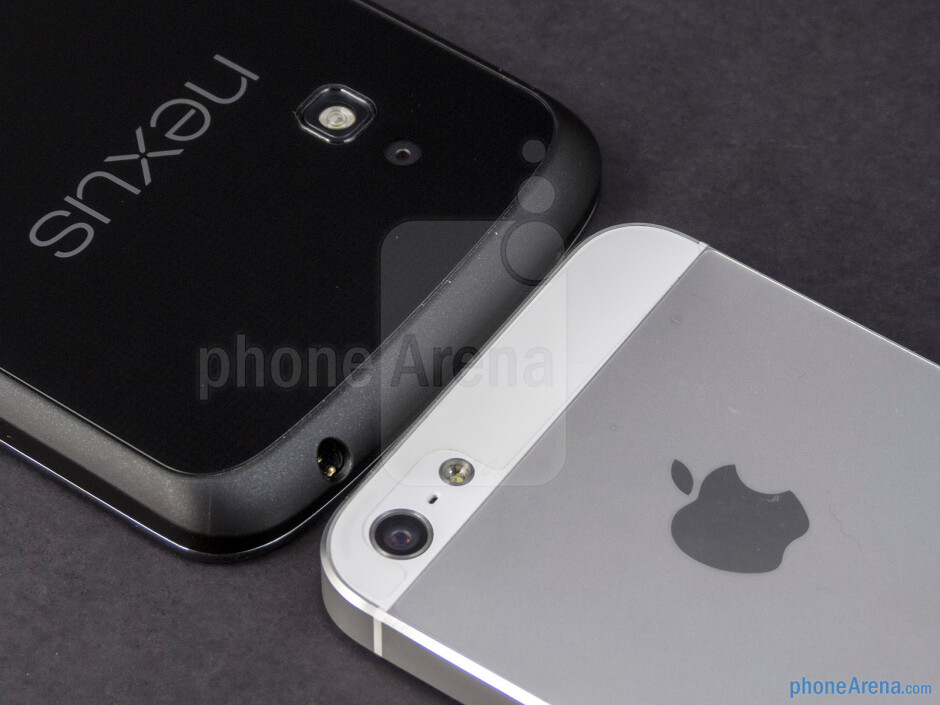 Rear cameras - The Google Nexus 4 (left) and the Apple iPhone 5 (right) - Google Nexus 4 vs Apple iPhone 5