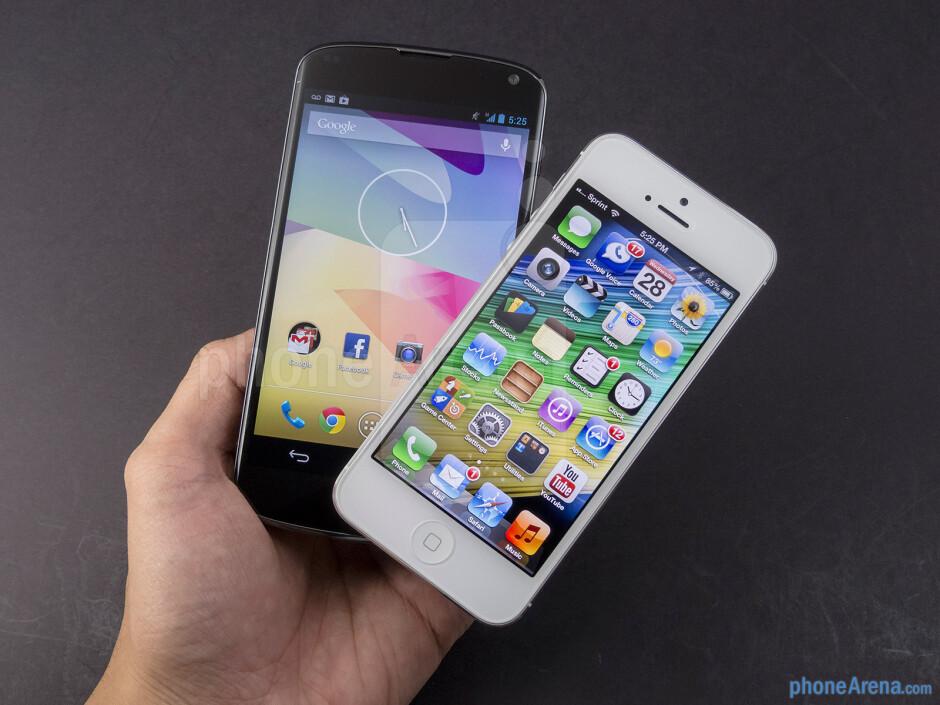 The Google Nexus 4 (left) and the Apple iPhone 5 (right) - Google Nexus 4 vs Apple iPhone 5