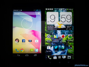 Viewing angles - Color productionThe Google Nexus 4 (left) and the HTC DROID DNA (right) - Google Nexus 4 vs HTC DROID DNA