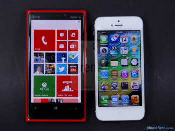 The Nokia Lumia 920 (left) and the Apple iPhone 5 (right) - Nokia Lumia 920 vs Apple iPhone 5