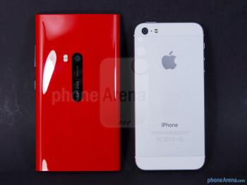 Backs - The Nokia Lumia 920 (left) and the Apple iPhone 5 (right) - Nokia Lumia 920 vs Apple iPhone 5